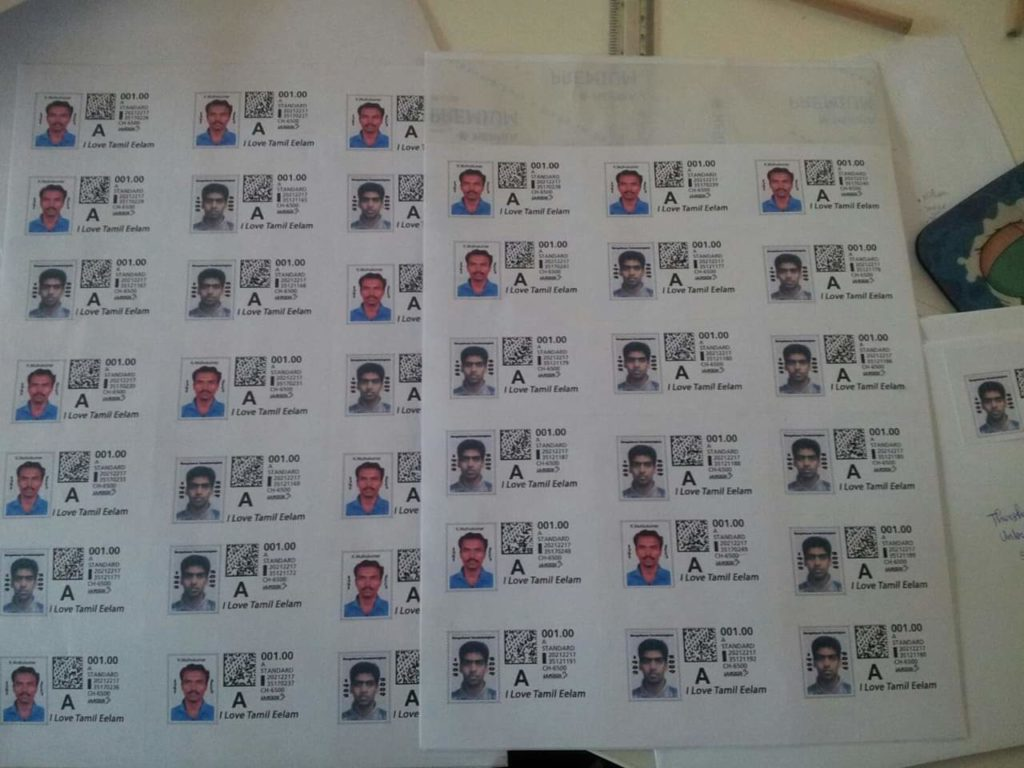 Stamp comemoring Murugathasn and Muthukumar